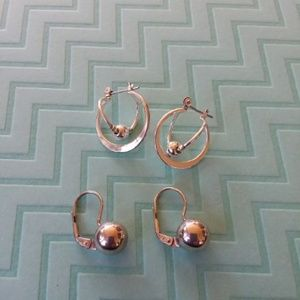 Jewelry - Sterling silver ball earrings *2 pair*